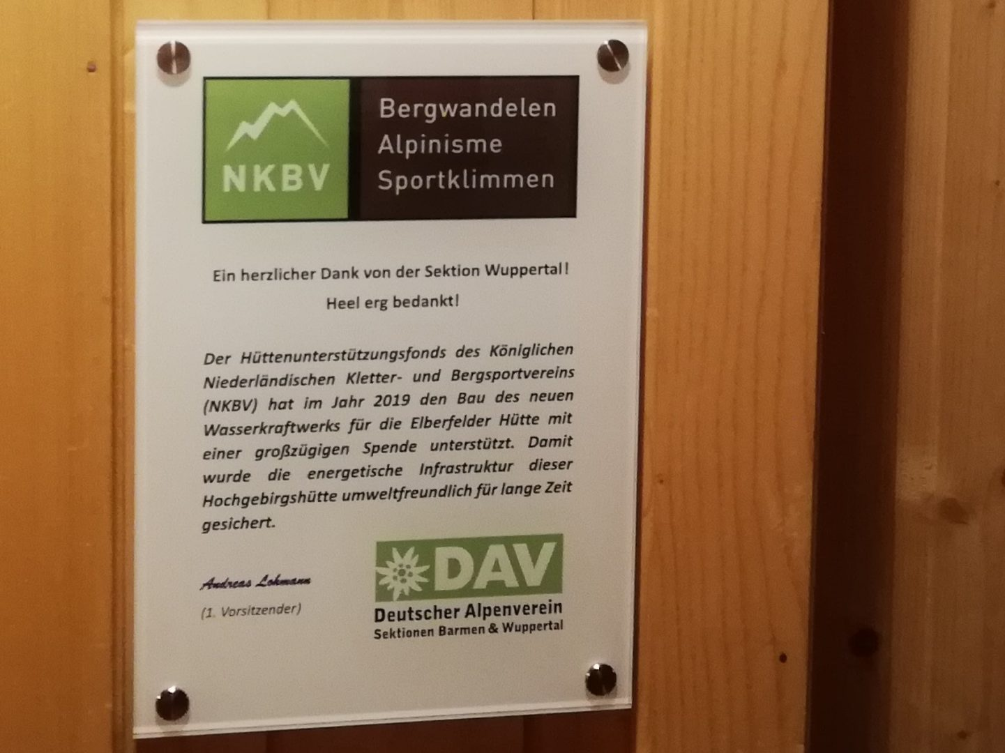 Elberfelder Hütte Spende vom NKBV